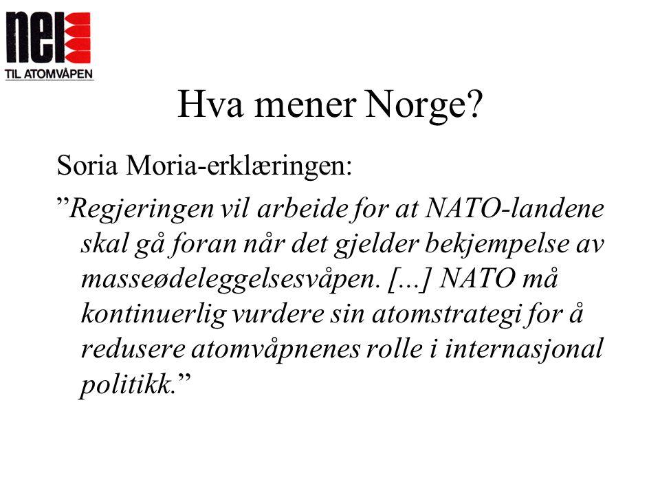 """Hva mener Norge? Soria Moria-erklæringen: """"Regjeringen vil arbeide for at NATO-landene skal gå foran når det gjelder bekjempelse av masseødeleggelsesv"""