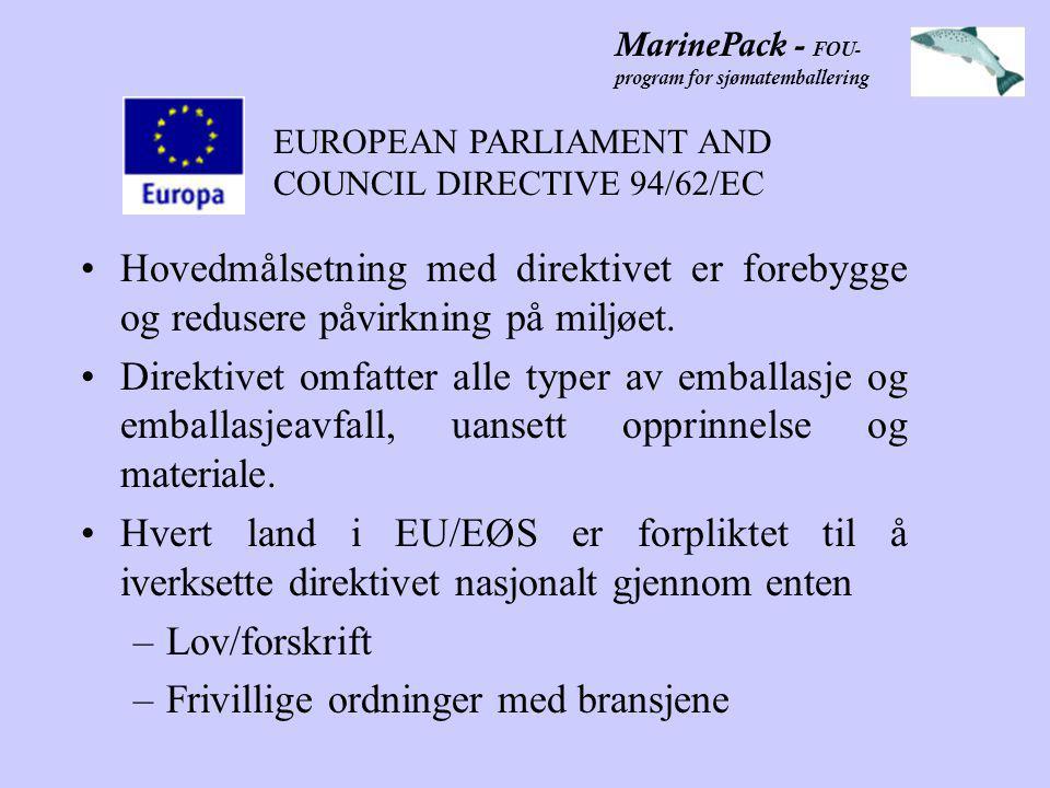 MarinePack - FOU- program for sjømatemballering •Hovedmålsetning med direktivet er forebygge og redusere påvirkning på miljøet.