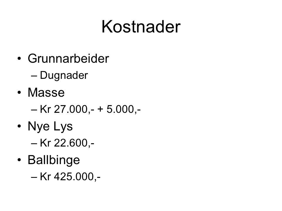 Kostnader •Grunnarbeider –Dugnader •Masse –Kr 27.000,- + 5.000,- •Nye Lys –Kr 22.600,- •Ballbinge –Kr 425.000,-