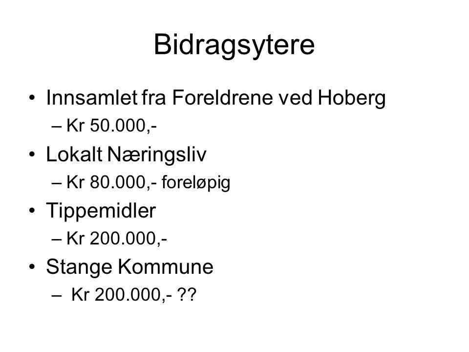 Bidragsytere •Innsamlet fra Foreldrene ved Hoberg –Kr 50.000,- •Lokalt Næringsliv –Kr 80.000,- foreløpig •Tippemidler –Kr 200.000,- •Stange Kommune –