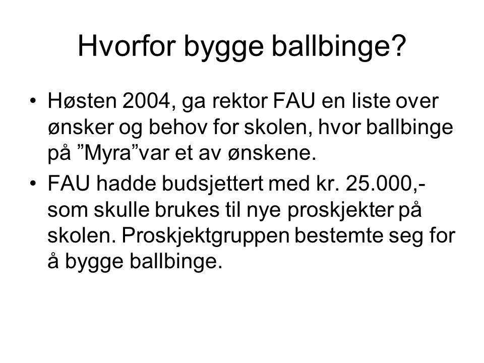 """Hvorfor bygge ballbinge? •Høsten 2004, ga rektor FAU en liste over ønsker og behov for skolen, hvor ballbinge på """"Myra""""var et av ønskene. •FAU hadde b"""