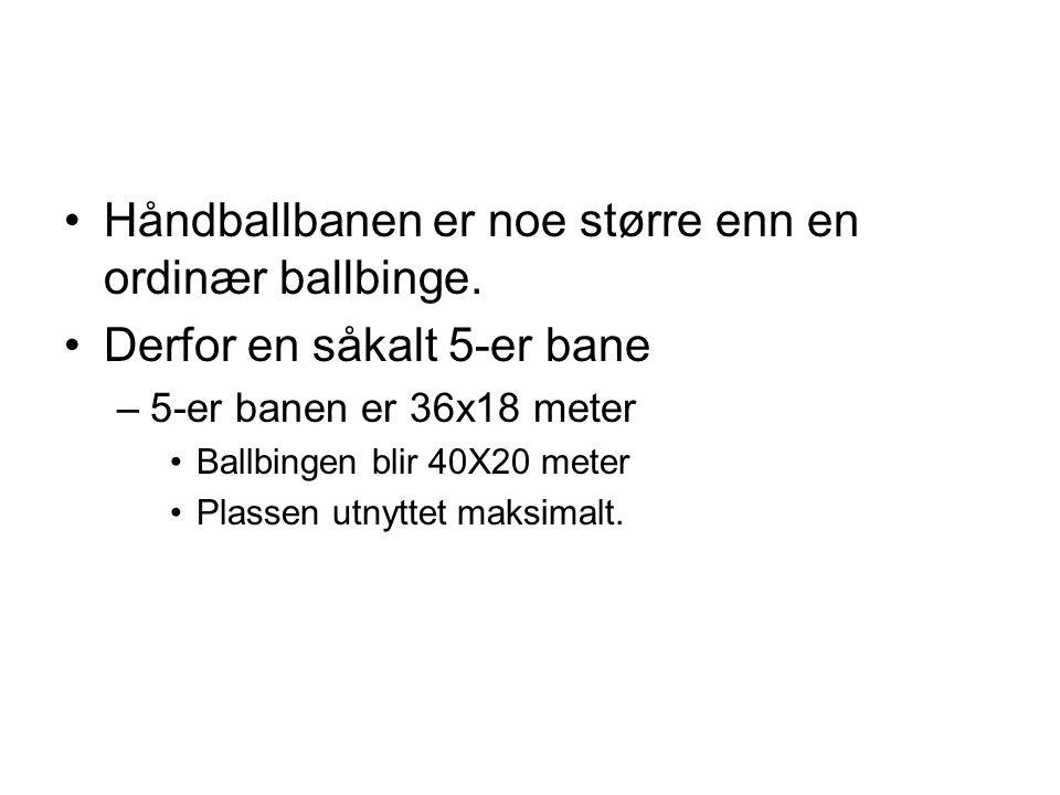 •Håndballbanen er noe større enn en ordinær ballbinge. •Derfor en såkalt 5-er bane –5-er banen er 36x18 meter •Ballbingen blir 40X20 meter •Plassen ut