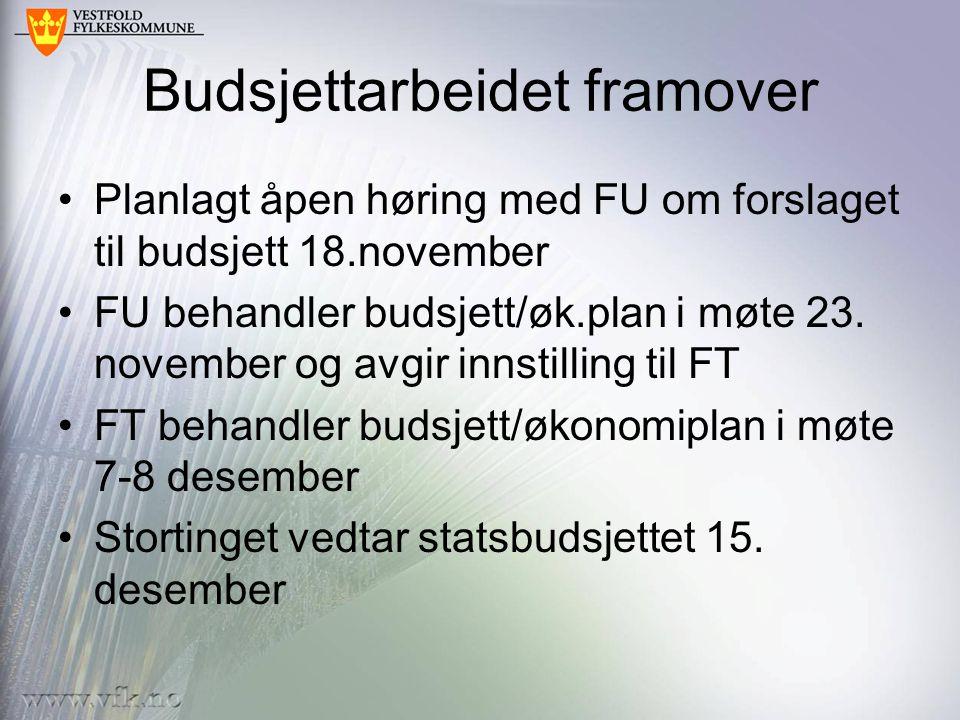 Budsjettarbeidet framover •Planlagt åpen høring med FU om forslaget til budsjett 18.november •FU behandler budsjett/øk.plan i møte 23.