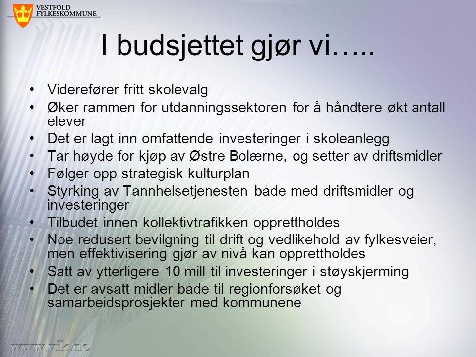 Investeringer * Østre Bolærne og Kaupang dekkes av fondsmidler, øvrige invest lånefinansieres