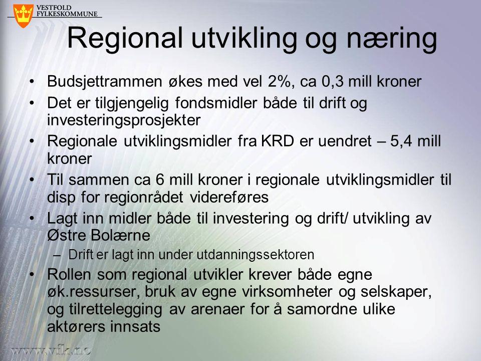 Tiltak for å møte reg.politiske utfordringer •Etablering av regionalt utviklingsfond.