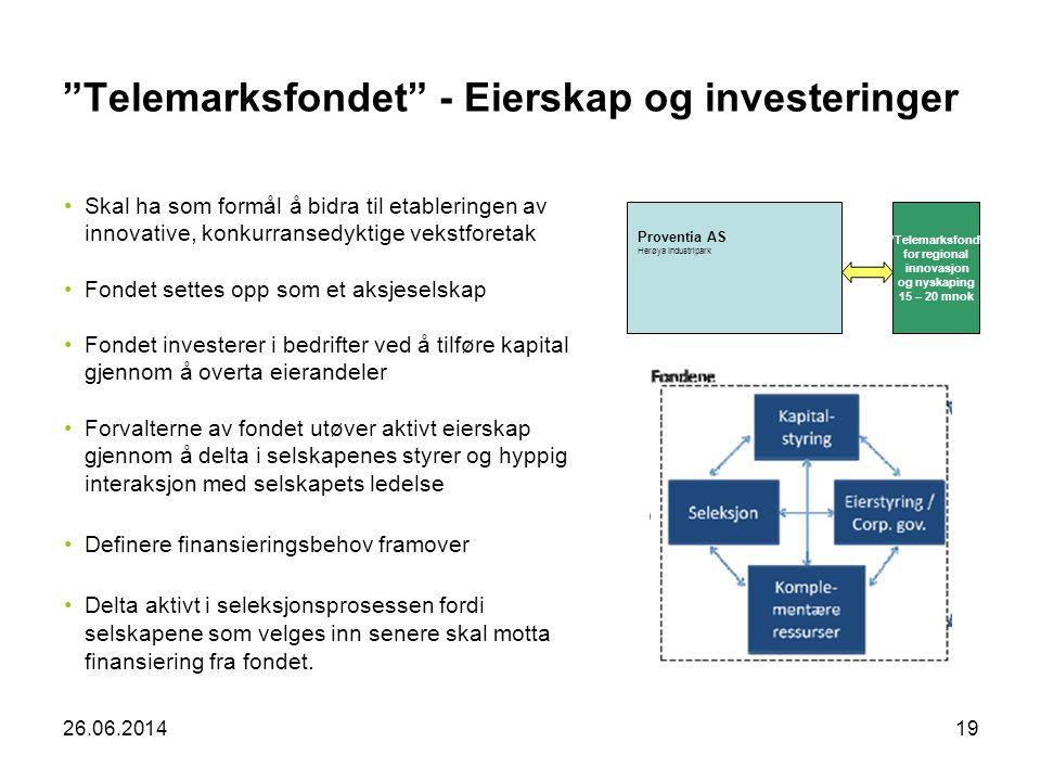 """26.06.201419 """"Telemarksfondet"""" - Eierskap og investeringer •Skal ha som formål å bidra til etableringen av innovative, konkurransedyktige vekstforetak"""