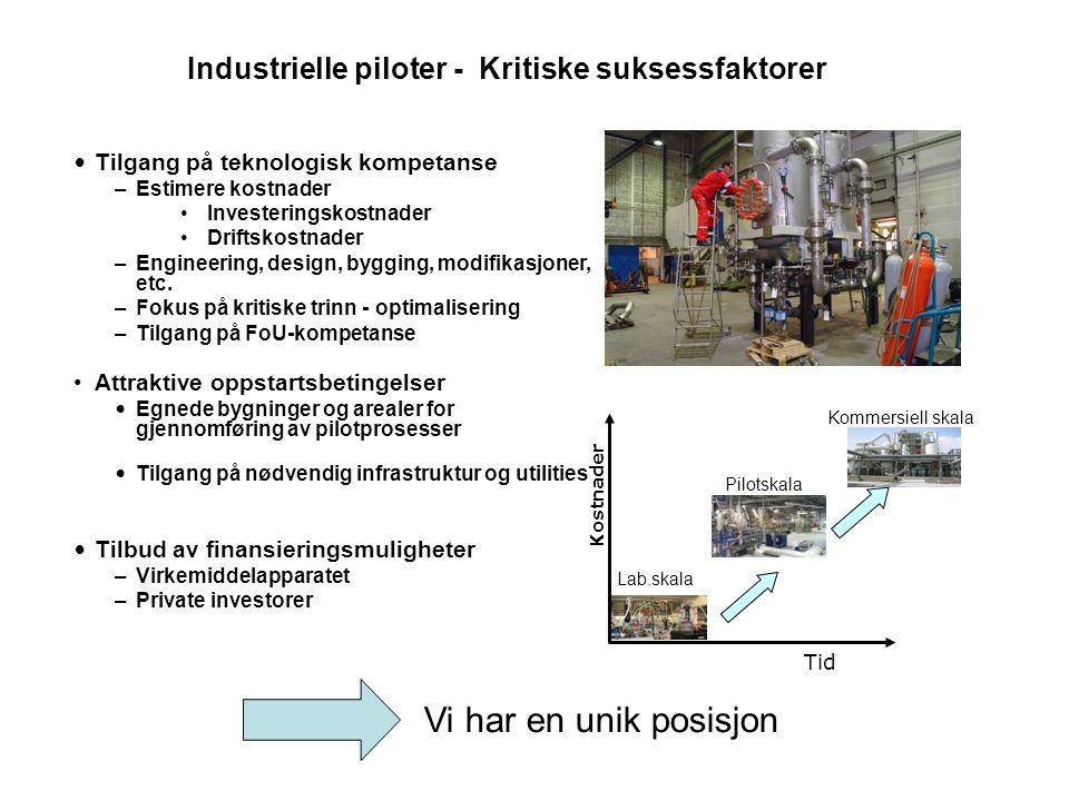 Industrielle piloter - Kritiske suksessfaktorer • Tilgang på teknologisk kompetanse –Estimere kostnader •Investeringskostnader •Driftskostnader –Engin