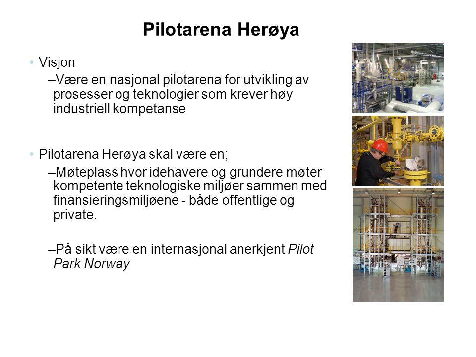Pilotarena Herøya •Visjon –Være en nasjonal pilotarena for utvikling av prosesser og teknologier som krever høy industriell kompetanse •Pilotarena Her