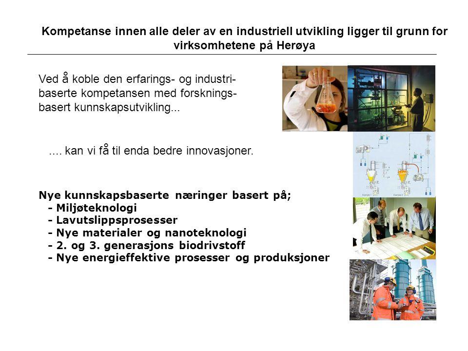 Kompetanse innen alle deler av en industriell utvikling ligger til grunn for virksomhetene på Herøya Nye kunnskapsbaserte næringer basert på; - Miljøt