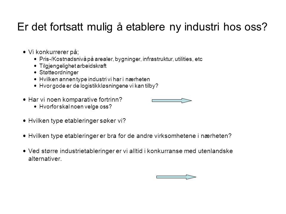 Er det fortsatt mulig å etablere ny industri hos oss? • Vi konkurrerer på; • Pris-/Kostnadsnivå på arealer, bygninger, infrastruktur, utilities, etc •