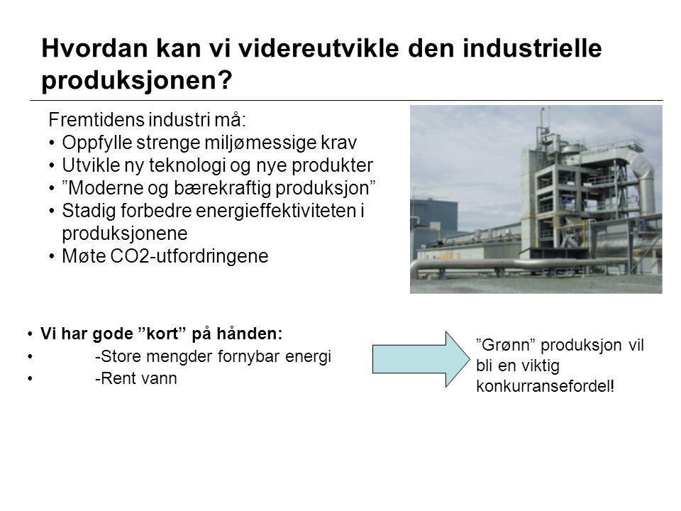 """Hvordan kan vi videreutvikle den industrielle produksjonen? •Vi har gode """"kort"""" på hånden: •-Store mengder fornybar energi •-Rent vann """"Grønn"""" produks"""