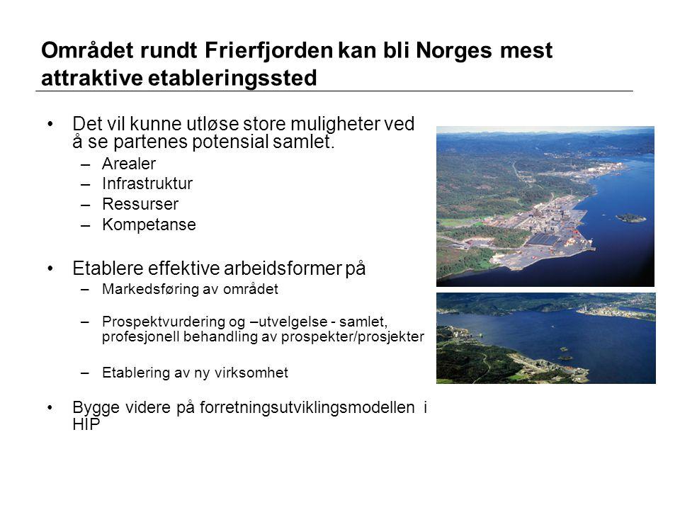 Området rundt Frierfjorden kan bli Norges mest attraktive etableringssted •Det vil kunne utløse store muligheter ved å se partenes potensial samlet. –