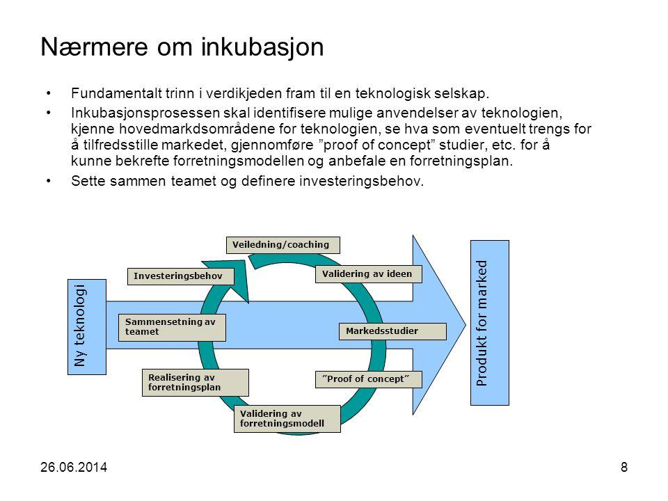 26.06.20148 Nærmere om inkubasjon •Fundamentalt trinn i verdikjeden fram til en teknologisk selskap. •Inkubasjonsprosessen skal identifisere mulige an