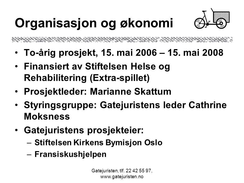 Gatejuristen, tlf.22 42 55 97, www.gatejuristen.no Organisasjon og økonomi •To-årig prosjekt, 15.