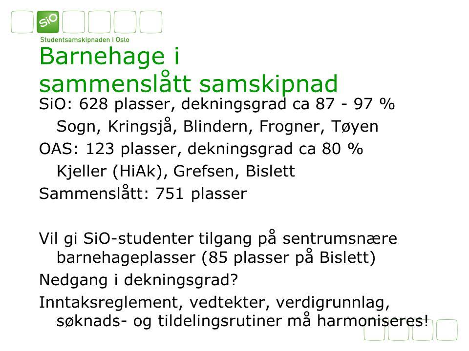 Barnehage i sammenslått samskipnad SiO: 628 plasser, dekningsgrad ca 87 - 97 % Sogn, Kringsjå, Blindern, Frogner, Tøyen OAS: 123 plasser, dekningsgrad ca 80 % Kjeller (HiAk), Grefsen, Bislett Sammenslått: 751 plasser Vil gi SiO-studenter tilgang på sentrumsnære barnehageplasser (85 plasser på Bislett) Nedgang i dekningsgrad.
