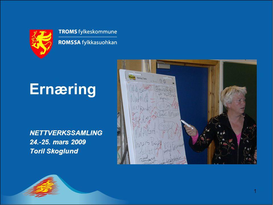 1 Ernæring NETTVERKSSAMLING 24.-25. mars 2009 Toril Skoglund