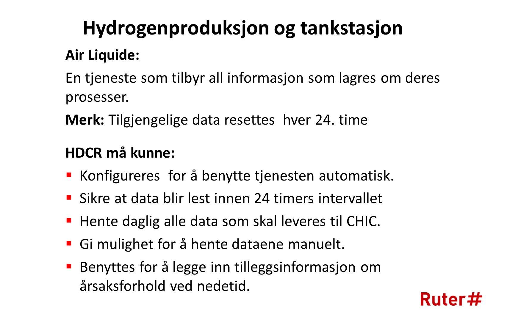Hydrogenproduksjon og tankstasjon Air Liquide: En tjeneste som tilbyr all informasjon som lagres om deres prosesser.