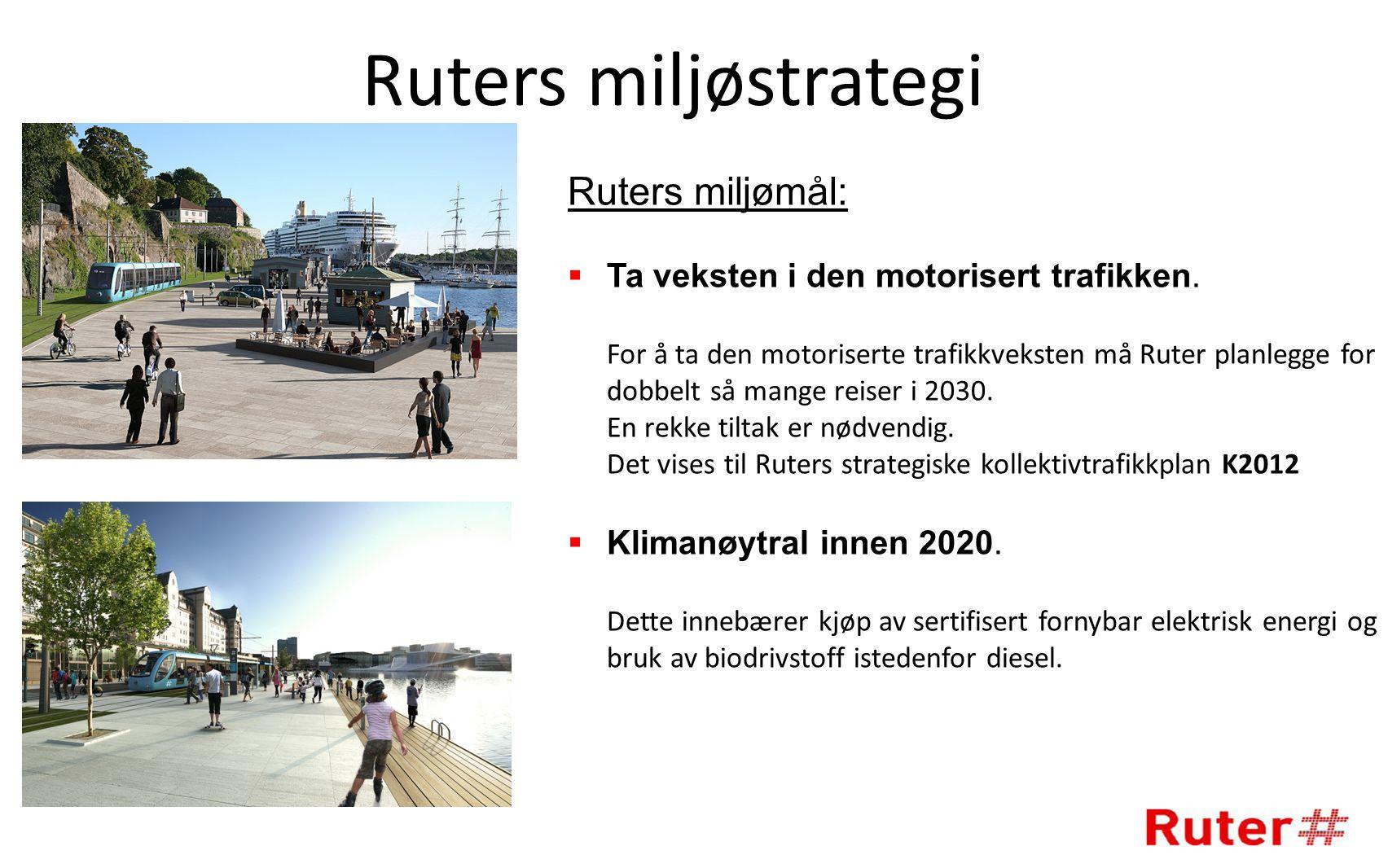 Ruters miljøstrategi Ruters miljømål:  Ta veksten i den motorisert trafikken.