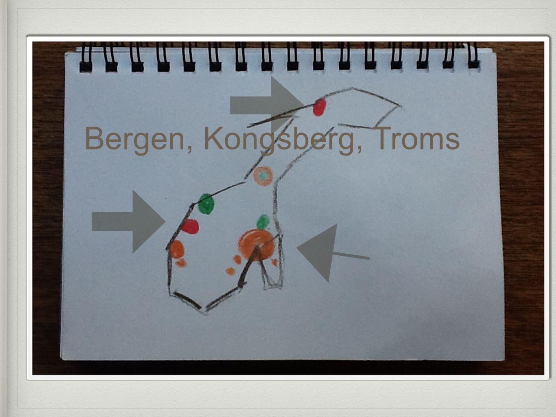 Bergen, Kongsberg, Troms