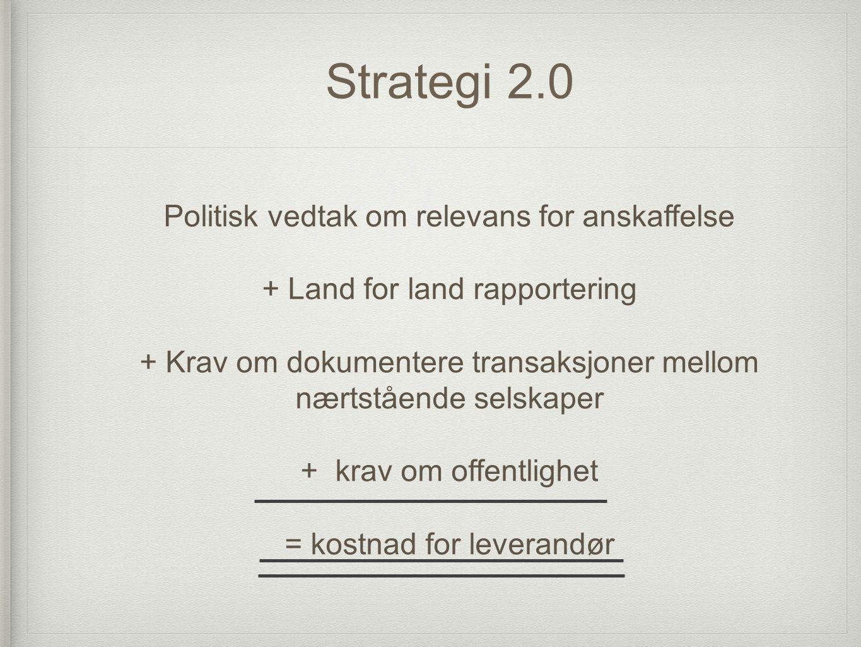 Strategi 2.0 Politisk vedtak om relevans for anskaffelse + Land for land rapportering + Krav om dokumentere transaksjoner mellom nærtstående selskaper + krav om offentlighet = kostnad for leverandør
