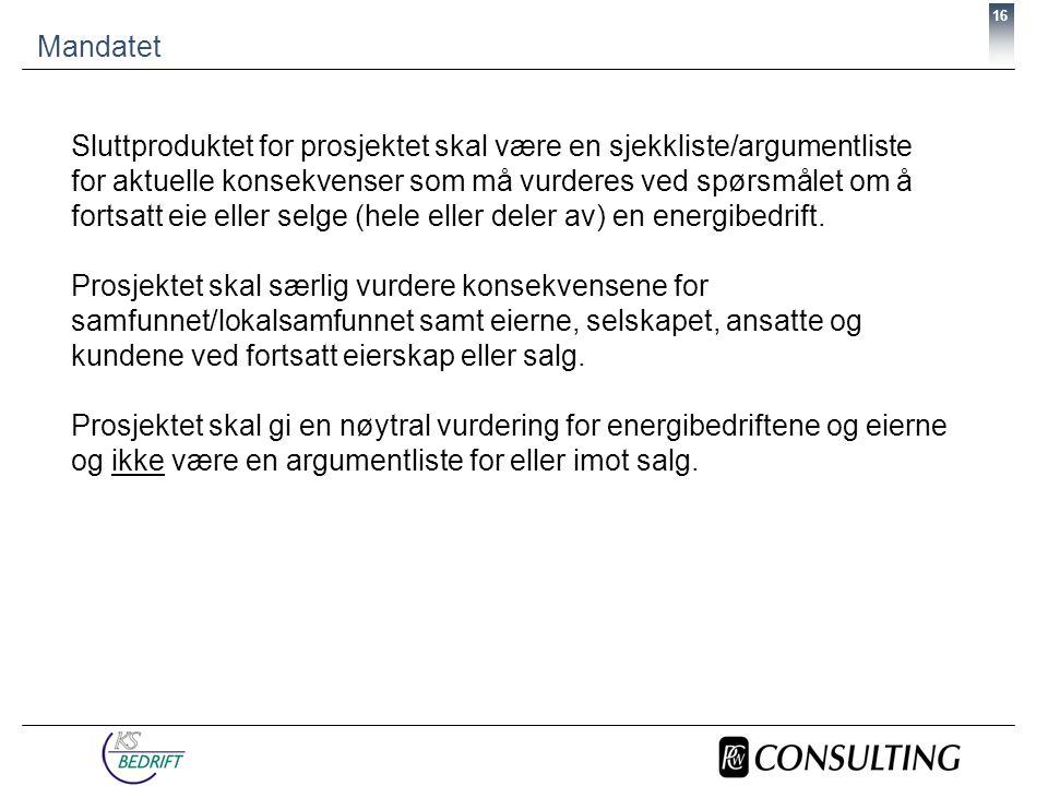 16 Mandatet Sluttproduktet for prosjektet skal være en sjekkliste/argumentliste for aktuelle konsekvenser som må vurderes ved spørsmålet om å fortsatt eie eller selge (hele eller deler av) en energibedrift.