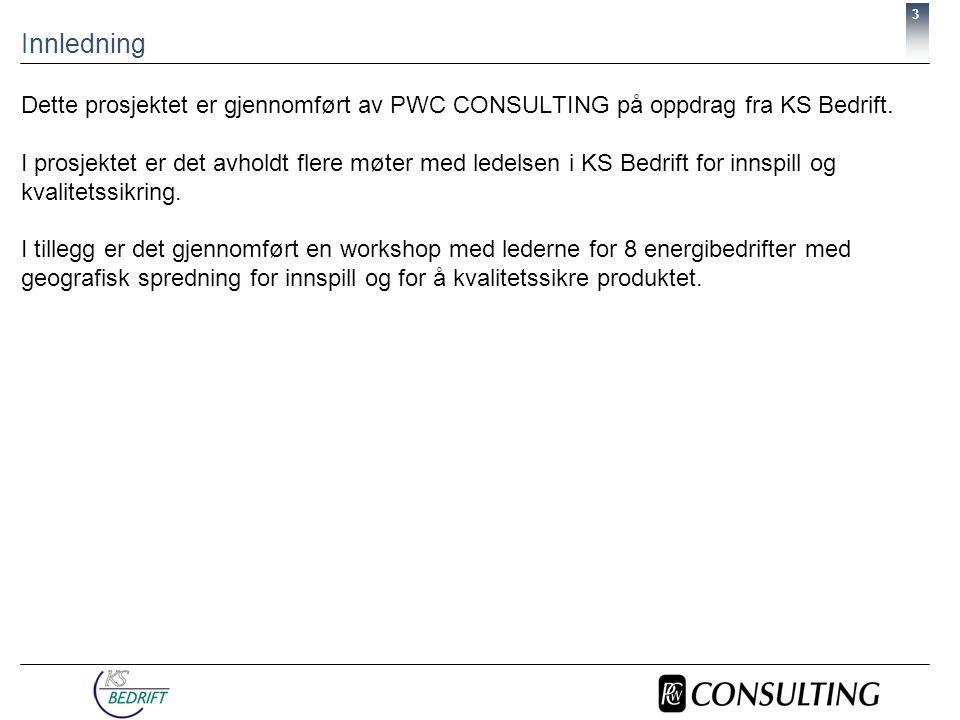 3 Innledning Dette prosjektet er gjennomført av PWC CONSULTING på oppdrag fra KS Bedrift.