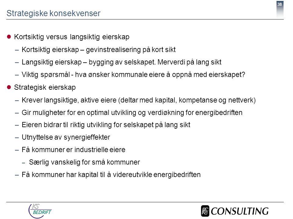 38 Strategiske konsekvenser  Kortsiktig versus langsiktig eierskap –Kortsiktig eierskap – gevinstrealisering på kort sikt –Langsiktig eierskap – bygging av selskapet.