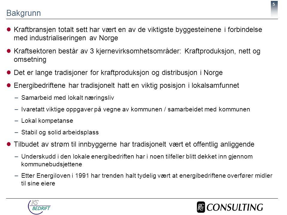 6 Bakgrunn  Siden Energiloven trådte i kraft 1.1 1991 har det foregått en omfattende omstruktureringsprosess i den norske kraftsektoren  Omstruktureringene har spesielt tatt av de siste årene Kilde: NVE Fusjoner og oppkjøp i den norske kraftsektoren, 1991 - 2000