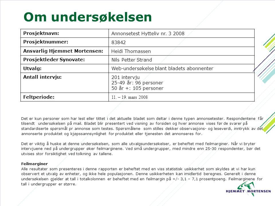 Om undersøkelsen Prosjektnavn: Annonsetest Hytteliv nr.
