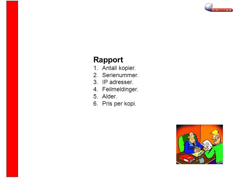 Rapport 1.Antall kopier. 2.Serienummer. 3.IP adresser. 4.Feilmeldinger. 5.Alder. 6.Pris per kopi.