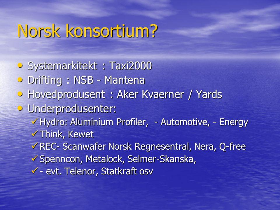 Norsk konsortium? • Systemarkitekt : Taxi2000 • Drifting : NSB - Mantena • Hovedprodusent : Aker Kvaerner / Yards • Underprodusenter:  Hydro: Alumini
