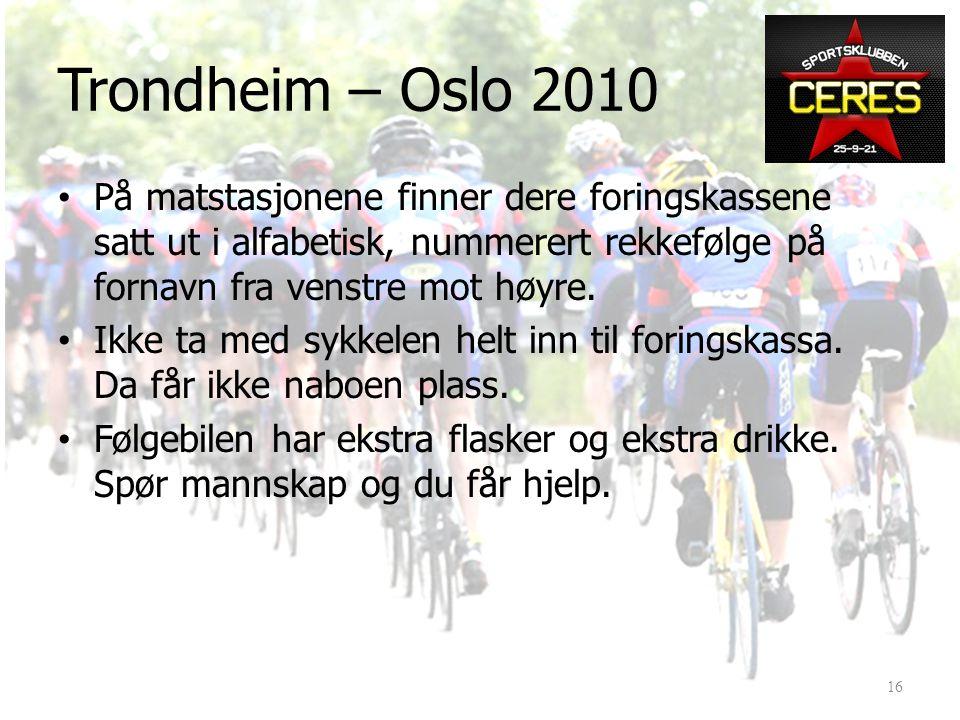 • Matstasjoner (ihht. 2009-opplegg): Ulsberg90 km Hjerkinn / Fokstua170 km Ringebu280 km Brummunddal390 km (ny) Langing Dal (?)490 km DSS16 2010: 15