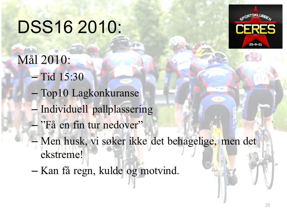 DSS16 2010: Hvordan 2009? • Trondheim – Dombås – Trillet rolig – Tid 6:12 • Dombås - Lillehammer – Lå i rygg på Gauldal SK – Tid 10:33 • Lillehammer –