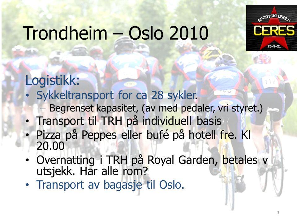Logistikk: • Sykkeltransport for ca 28 sykler.