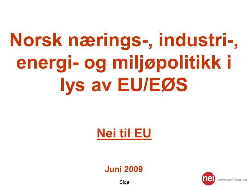 Side 1 Norsk nærings-, industri-, energi- og miljøpolitikk i lys av EU/EØS Nei til EU Juni 2009