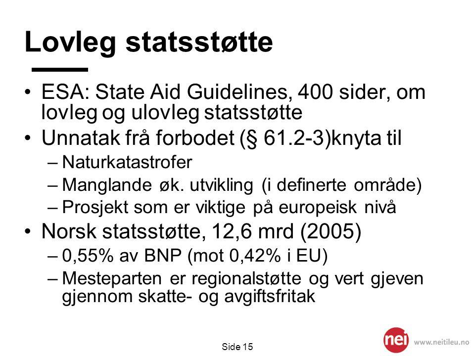 Side 15 Lovleg statsstøtte •ESA: State Aid Guidelines, 400 sider, om lovleg og ulovleg statsstøtte •Unnatak frå forbodet (§ 61.2-3)knyta til –Naturkat