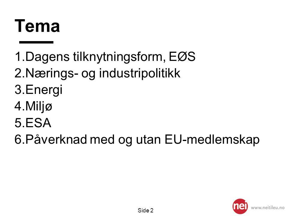 Side 2 Tema 1.Dagens tilknytningsform, EØS 2.Nærings- og industripolitikk 3.Energi 4.Miljø 5.ESA 6.Påverknad med og utan EU-medlemskap
