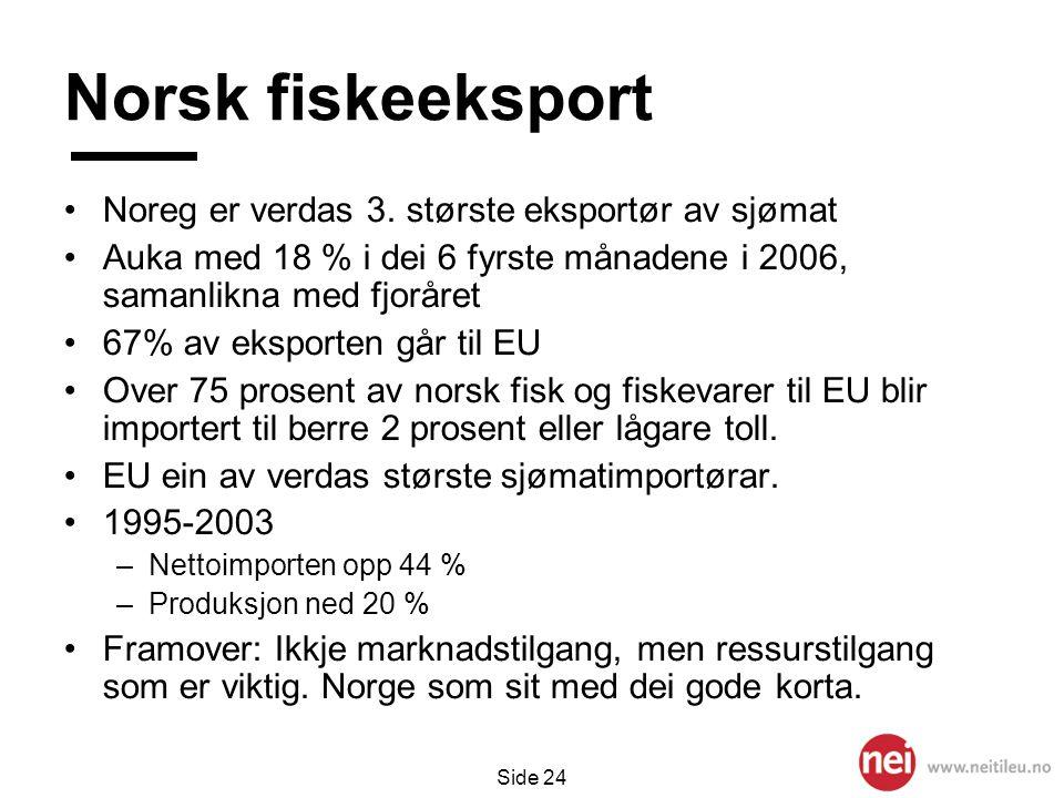 Side 24 Norsk fiskeeksport •Noreg er verdas 3. største eksportør av sjømat •Auka med 18 % i dei 6 fyrste månadene i 2006, samanlikna med fjoråret •67%