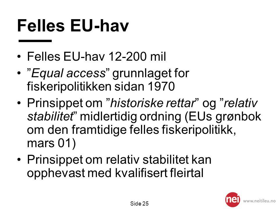 "Side 25 Felles EU-hav •Felles EU-hav 12-200 mil •""Equal access"" grunnlaget for fiskeripolitikken sidan 1970 •Prinsippet om ""historiske rettar"" og ""rel"