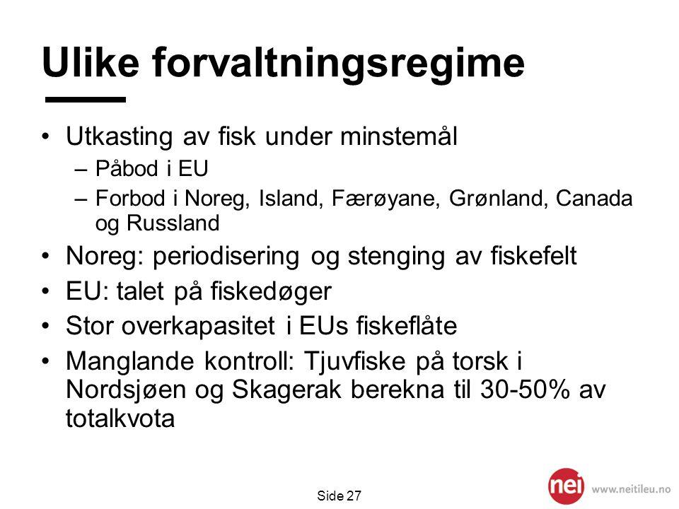 Side 27 Ulike forvaltningsregime •Utkasting av fisk under minstemål –Påbod i EU –Forbod i Noreg, Island, Færøyane, Grønland, Canada og Russland •Noreg