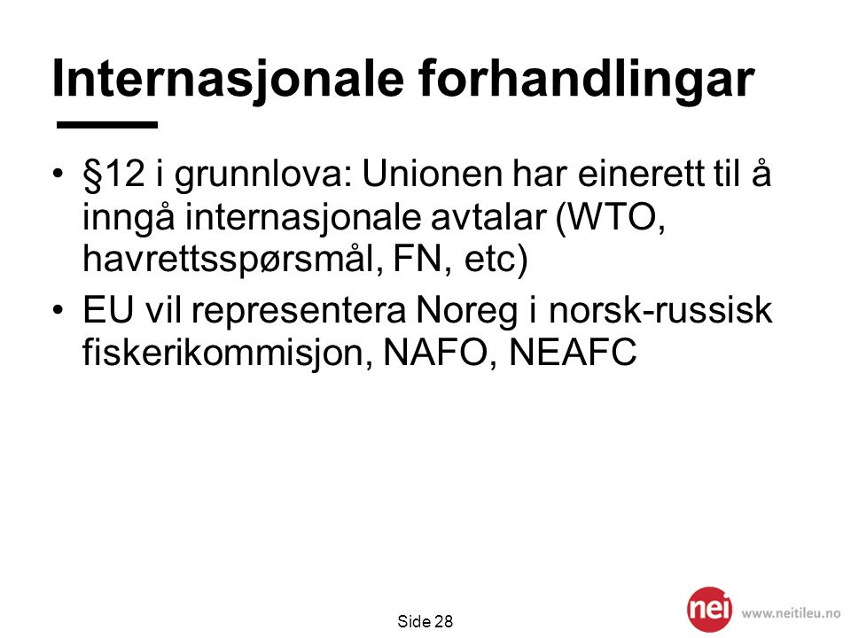Side 28 Internasjonale forhandlingar •§12 i grunnlova: Unionen har einerett til å inngå internasjonale avtalar (WTO, havrettsspørsmål, FN, etc) •EU v