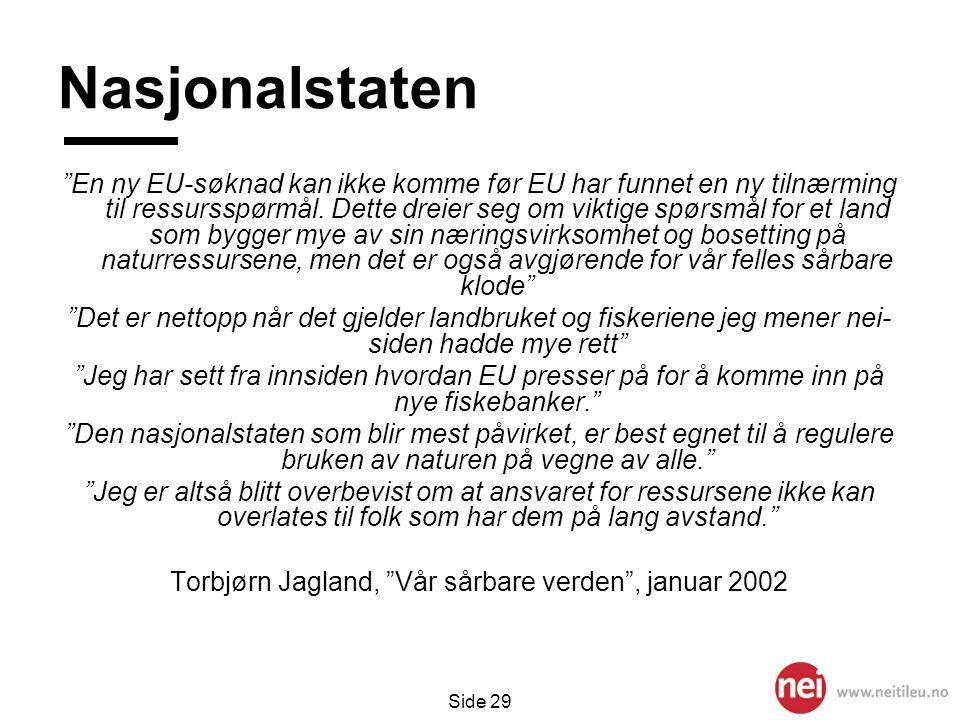 """Side 29 Nasjonalstaten """"En ny EU-søknad kan ikke komme før EU har funnet en ny tilnærming til ressursspørmål. Dette dreier seg om viktige spørsmål for"""