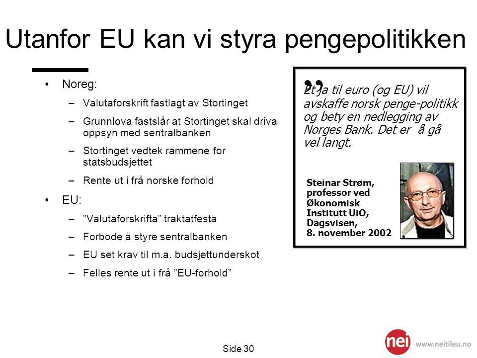 Side 30 Utanfor EU kan vi styra pengepolitikken •Noreg: –Valutaforskrift fastlagt av Stortinget –Grunnlova fastslår at Stortinget skal driva oppsyn me