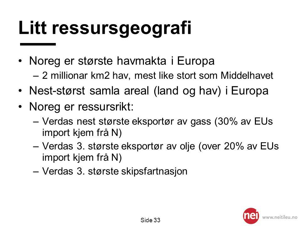 Side 33 Litt ressursgeografi •Noreg er største havmakta i Europa –2 millionar km2 hav, mest like stort som Middelhavet •Nest-størst samla areal (land