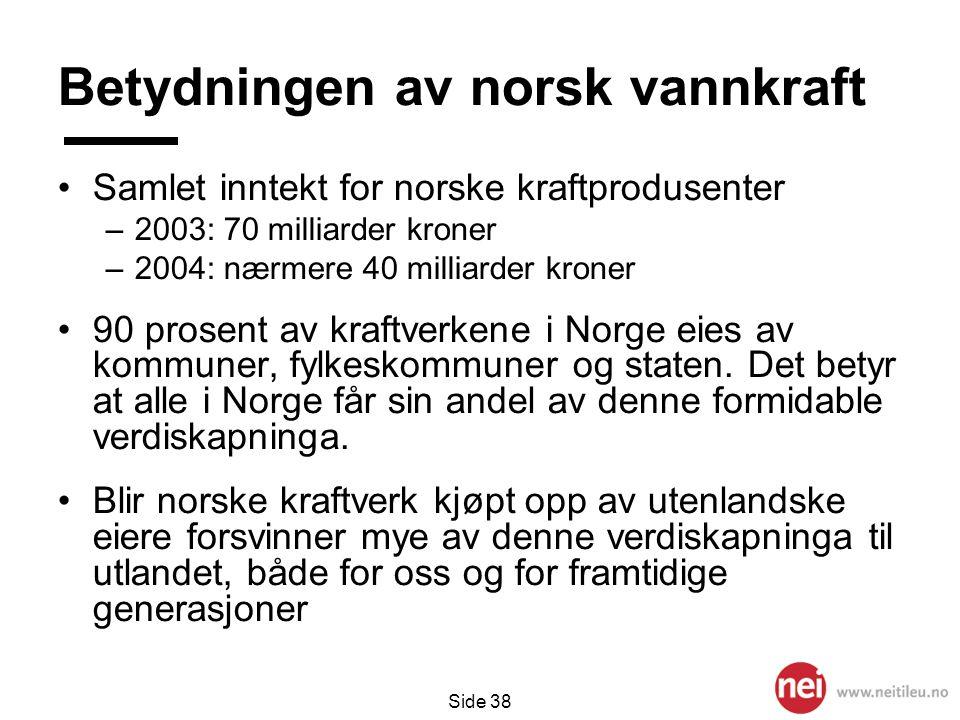 Side 38 Betydningen av norsk vannkraft •Samlet inntekt for norske kraftprodusenter –2003: 70 milliarder kroner –2004: nærmere 40 milliarder kroner •90