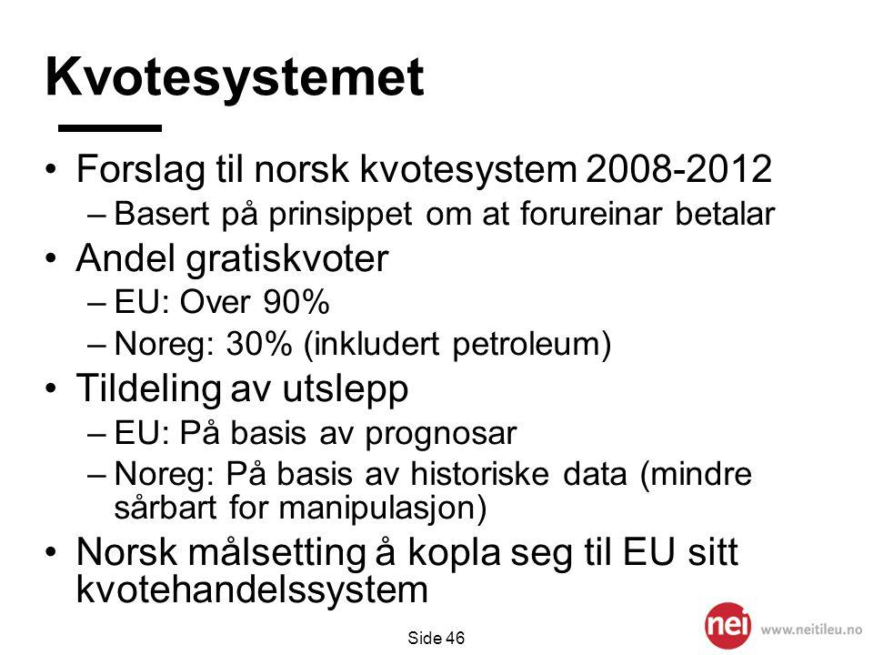 Side 46 Kvotesystemet •Forslag til norsk kvotesystem 2008-2012 –Basert på prinsippet om at forureinar betalar •Andel gratiskvoter –EU: Over 90% –Noreg