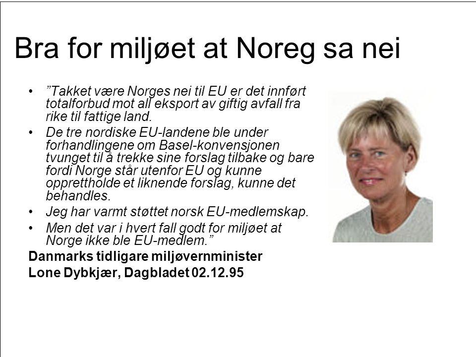 """Side 54 Bra for miljøet at Noreg sa nei •""""Takket være Norges nei til EU er det innført totalforbud mot all eksport av giftig avfall fra rike til fatti"""