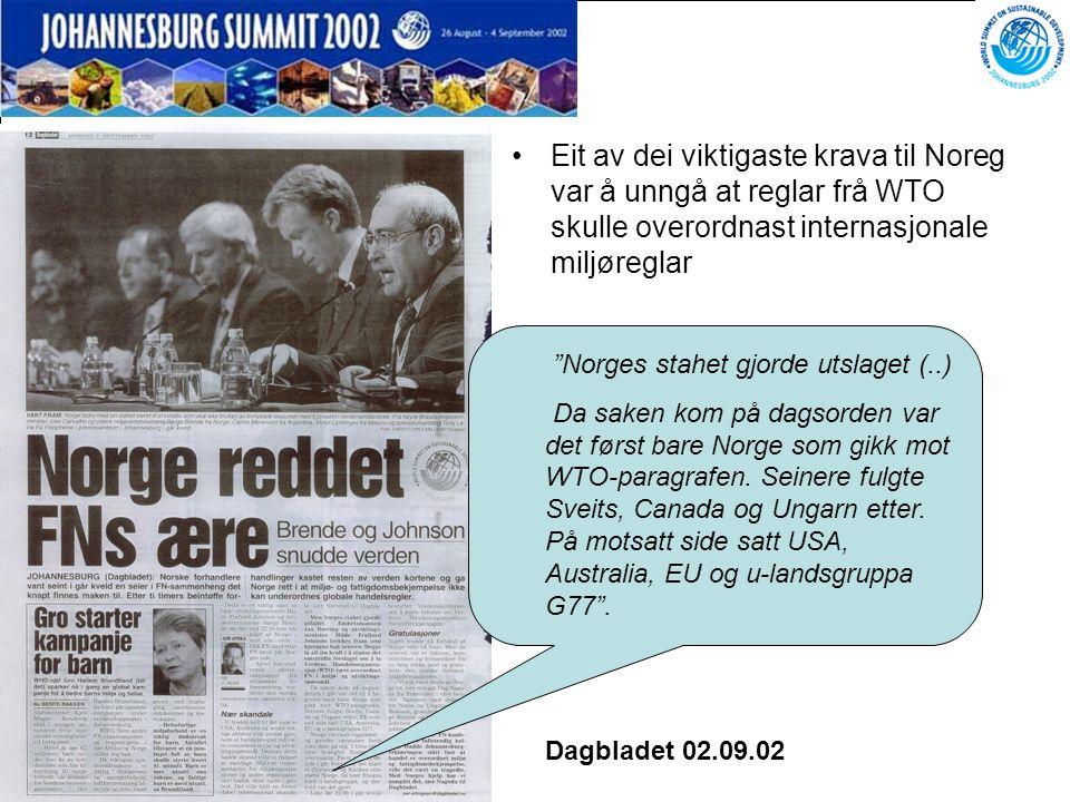 """Side 55 """"Norges stahet gjorde utslaget (..) Da saken kom på dagsorden var det først bare Norge som gikk mot WTO-paragrafen. Seinere fulgte Sveits, Ca"""