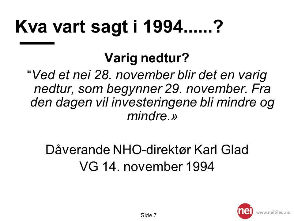"""Side 7 Kva vart sagt i 1994......? Varig nedtur? """"Ved et nei 28. november blir det en varig nedtur, som begynner 29. november. Fra den dagen vil inves"""
