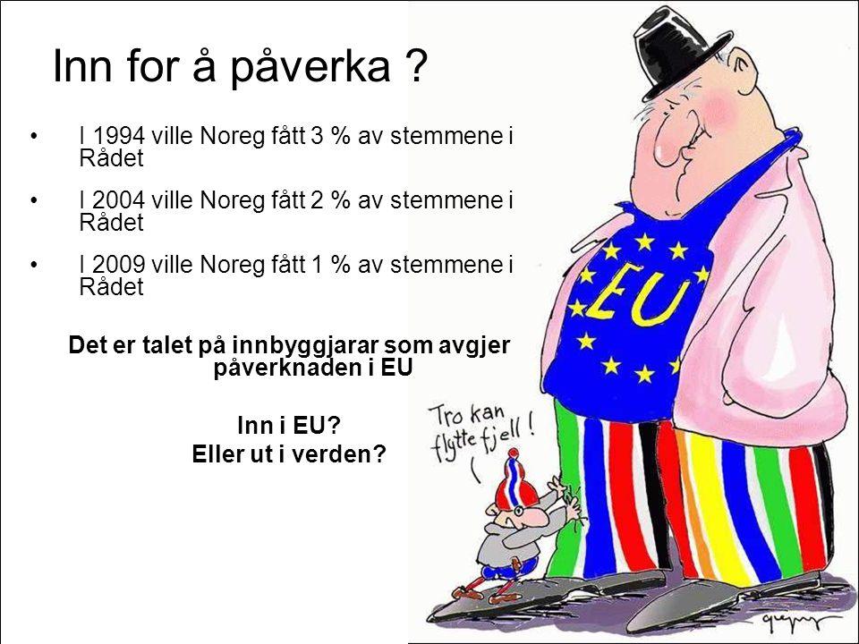 Side 72 Inn for å påverka ? •I 1994 ville Noreg fått 3 % av stemmene i Rådet •I 2004 ville Noreg fått 2 % av stemmene i Rådet •I 2009 ville Noreg fått